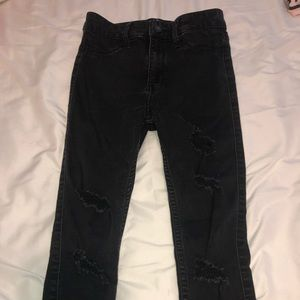 High rise crop black ripped jeans
